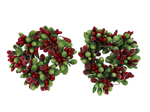 Set of 2 (Two) 3-inch Beaded Berry Wreath Candlering Candle Napkin Ring Christmas Red Green