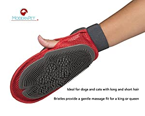 Grooming Glove For Dog & Cat - Pet Hair Remover Tool For Long & Short Hair Pets - Deshedding Brush Gives Gentle Massage - Left & Right Handed Mitt - Modern Pet