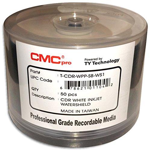 CMC Pro (Powered by TY Technology) Watershield GLOSSY WHITE Inkjet Hub 52X 80-Min CD-R'S 100-Pak by CMC Pro - Powered by TY Technology