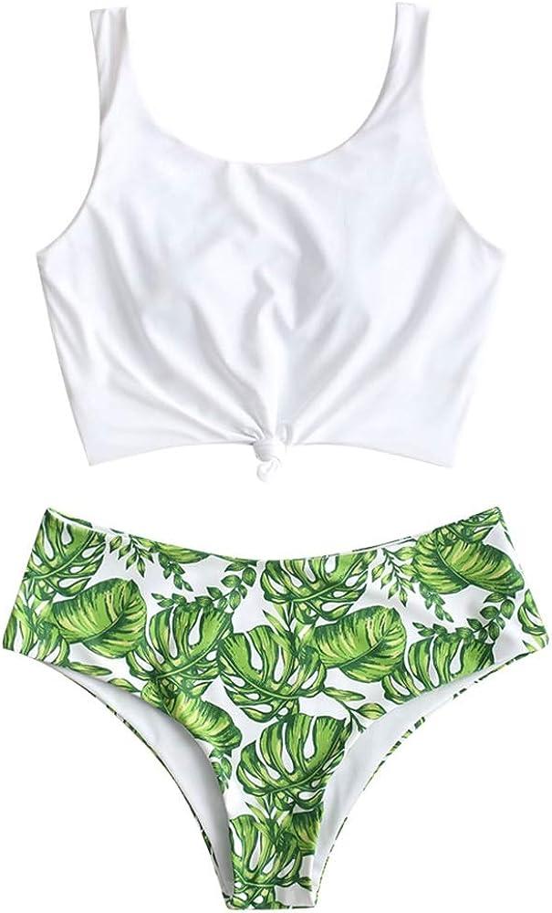 ZAFUL Set da Due Pezzi da Spiaggia Top Annodato con Spallacci e Costume da Bagno Tropicale con Foglie