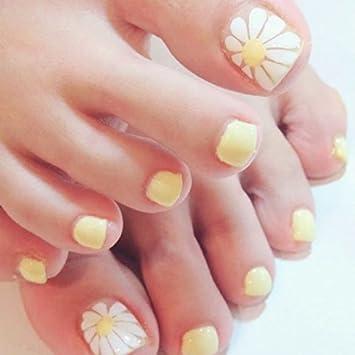 Amazon.com: 24pcs Summer Fresh Daisy SunFlower Yellow False Toe Nail ...