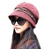 doublebulls hats Knitted Cloche Hat Pleated Flapper Womens Ladies Winter Hat Short Brim Cap, Red
