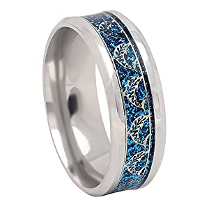 Ginger Lyne Collection Dolphins Stainless Steel Comfort Fit Wedding Band All Ocassion Ring Gold Color Inlay on Blue…