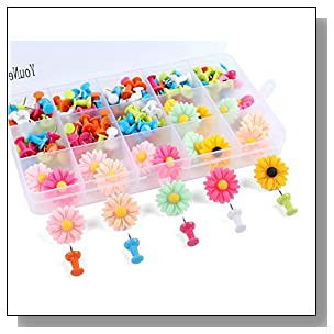 Push Pins Set of 140 Decorative Pushpins/Map Photo Tacks for Home or Office Organization, Bulletin Boards, Cork Board, Travel Map (Flower-1)