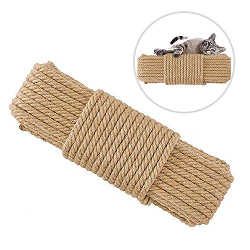 Hamkaw Cat Scratching Post Hemp Rope 65 Feet Replacement Jute Rope for Cat Tree and Tower, Natura Twisted Hemp Rope for Repairing Recovering Or DIY Scratcher Pet Toys (6mm Diameter)