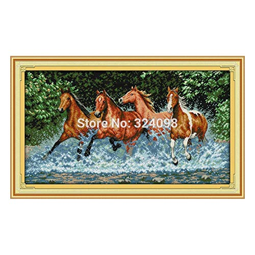 Zamtac Wholesale Needlework,Stitch,11CT 14CT Cross Stitch,Sets for Embroidery Kits,Horses Counted Cross-Stitching - (Cross Stitch Fabric CT Number: 14CT White Canvas)