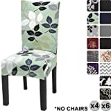 YISUN Modern Stretch Dining Chair Covers Removable Washable Spandex Slipcovers for High Chairs 4/6 PCs Chair Protective Covers (Green/Leaf Pattern, 4 PCS)