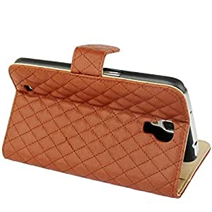 Plaid Texture Flip Soft Leather Case with Holder & Credit Card Slots for Samsung Galaxy Mega 6.3 / i9200 (Brown)