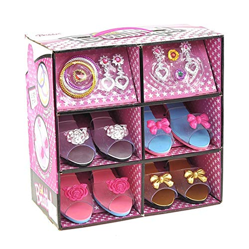 ToyVelt Princess Dress Up & Play Shoe and Jewelry Boutique (Includes 4 Pairs of Shoes + Multiple Fashion Accessories) - This Dressup Princess Jewelry Set is The Best Gift for Girls Age 2 - 10 yrs Old -