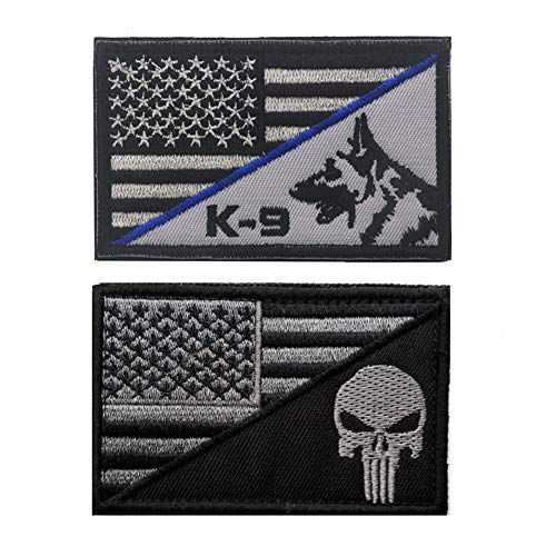 SOUTHYU 2 Pack Punisher American US Flag Patch K-9 Thin Blue Line Police Swat Military Tactical Morale Patches Badge Hook and Loop Backing Emblem