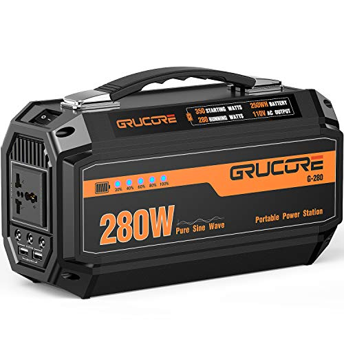 (GRUCORE 280W Portable Power Station Generator, 250Wh CPAP Backup Battery, 110V Pure Sinewave AC Outlet, Solar Generator for Outdoors Camping Travel Fishing Hunting Emergency ¡)