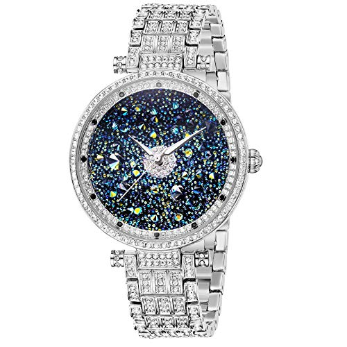 ♥ Gift for Mother ♥ Crystal Watches for Women Silver, 41Mm Ladys Watches Silver, Princess Watches Women Large Silver Watches, Womens Watch Diamond Japan Quart