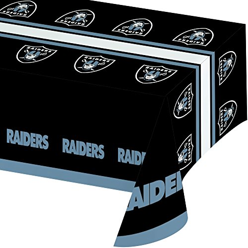 - Creative Converting Officially Licensed NFL Plastic Table Cover, 54x102, Oakland Raiders