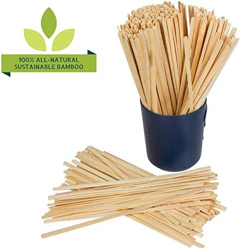 100% NATURAL BAMBOO Coffee Beverage Stirrer Sticks, 5.5-Inch Long (500 Count), Eco-Friendly, Biodegradable, Pure & Chemical-Free, Stronger than Wood or Plastic, Splinter-Free