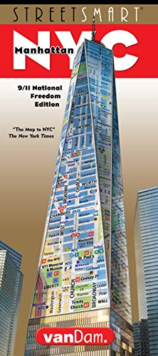 StreetSmart NYC Map by VanDam -- Laminated City Street Map of Manhattan, New York, in 9/11 National Freedom Edition - Folding pocket size city travel, sights, hotels & guided walks, - Map New York City