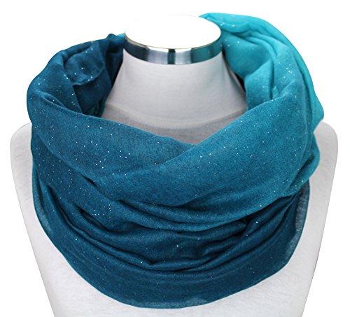 XXL Damen Farbverlauf GLITZER Schal leichter Schlauchschal Viele Farben (Petrol/Türkis)