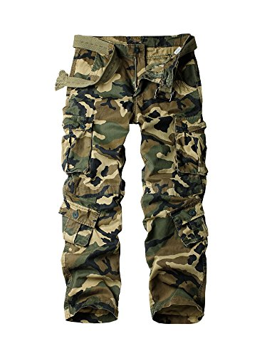 OCHENTA Men's Cotton Military Cargo Pants, 8 Pockets Casual Work Combat Trousers #3357 Army Green Camo 29