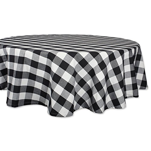 Tablecloths Check Round (DII Cotton Buffalo Check Plaid Round Tablecloth for Family Dinners or Gatherings, Indoor or Outdoor Parties, Everyday Use (70x70, Seats 4-6 People), Black & White)