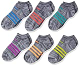 adidas Girls Superlite No Show Socks (6 Pack), Onix Clear/Purple/Glow Orange/Ray Blue/Red/Green, Medium