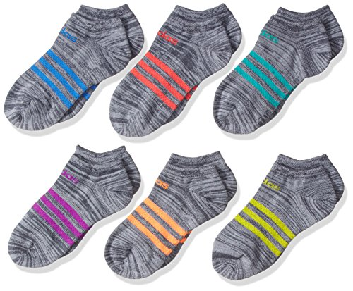 adidas Girls' Superlite No Show Socks (6-Pack), Onix Clear/Purple/Glow Orange/Ray Blue/Red/Green, Medium