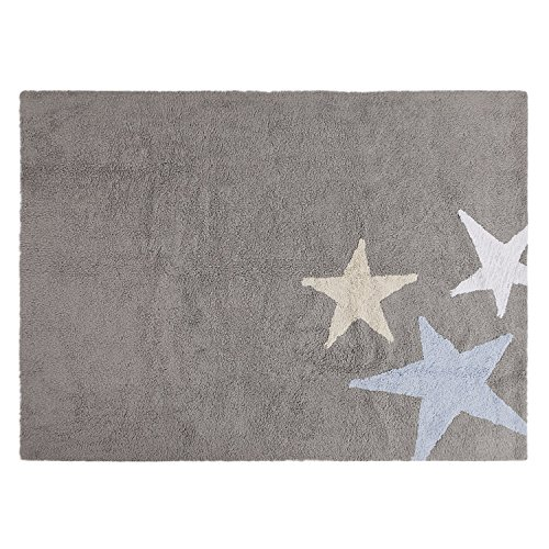 Lorena Canals Three Stars Machine Washable Kids Rug, 4 x 5 Feet, Handmade From 100% Natural Cotton and Non-Toxic Dyes, Perfect for Nursery, Baby or Childrens Rooms, Works for Outdoor or Beach by Lorena Canals
