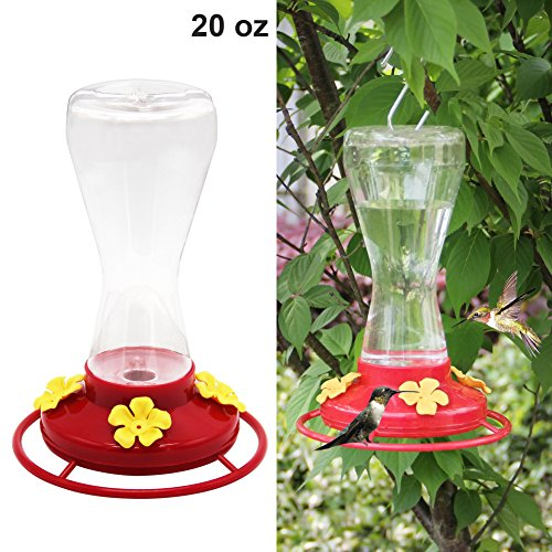 Twinkle Star 20-ounce Hanging Hummingbird Feeder with 4 Feeding - Plastic Hummingbird Feeder