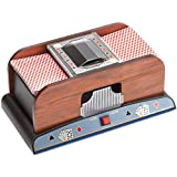 GSE Games & Sports Automatic Card Shuffler For Poker/Casino Games (Wooden; 2-Decks)