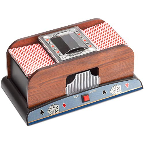 Casino Automatic Card Shuffler for Poker Games(2 Deck, 4 Deck, 6 Deck) (Wooden - 2 Deck)