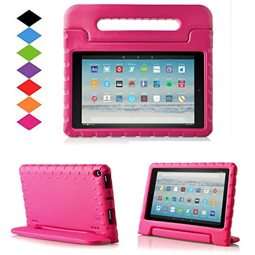 TIRIN All-New Fire HD 10 2017 Tablet Case - Super Light Weight Shock Proof Handle Kid-Proof Cover Kids Case for All-New Fire HD 10.1 Inch Tablet (7th Generation, 2017 Release), Rose (Fire Hd6 Warranty)