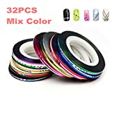 PREFER BEAUTY - Set Of 32, Nail Striping Tape Tool Kit, Nail Art Tips Decoration Sticker Mix Color