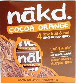 Nakd barras chocolate naranja - sin azucar, sin gluten, sin lactosa, Cruda,
