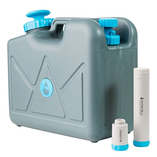 HydroBlu Pressurized Jerry Can Water Filter-Activated Carbon and Hollow Fiber Filters; Water Can for Travel, Camping, and Emergency Preparedness -a Life Saving Water ()