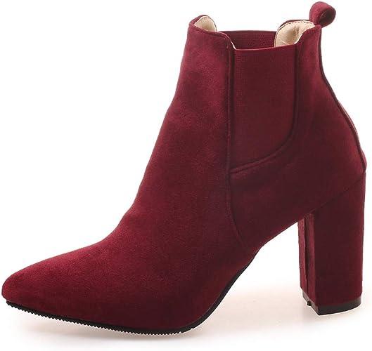 Talon Chelsea Bloc OALEEN Hiver Femme Chaussures Pointu Elastique Bottines Cheville Boots DYW9EH2I