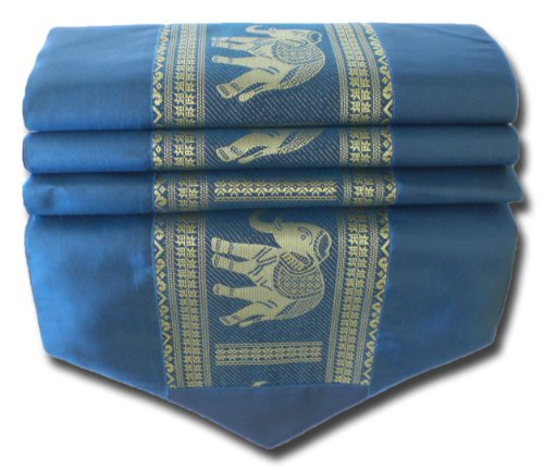 soljo - tablecloth tablerunner table runner linen Thai Silk Elegant precious Elefant 200 cm x 30 cm many colors (blue) by by soljo
