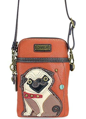 Pug Bag - Chala Crossbody Cell Phone Purse - Women PU Leather Multicolor Handbag with Adjustable Strap - Pug - Orange