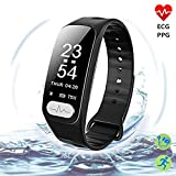 ECG+PPG Activity Tracker Watch-IP67 Waterproof Fitness Tracker with Heart Rate Monitor,Sleep Monitor,Blood Pressure Monitor,Pedometer Smart Watch for Women Men, Android iOS(ECG+PPG)