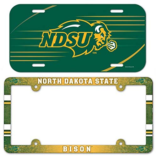 Bundle 2 Items: NCAA North Dakota State NDSU Bison 1 Plastic License Plate Frame & 1 Thin Plastic License Plate ()