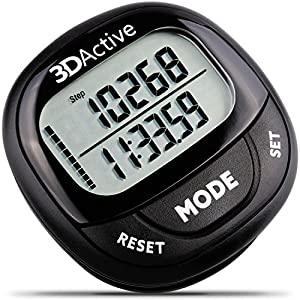 3DActive 3D Pedometer PDA 100| Best Pedometer for Walking with 30 Days Memory. Accurate Step Counter, Calorie Counter, Distance Miles/Km & Daily Target Monitor.