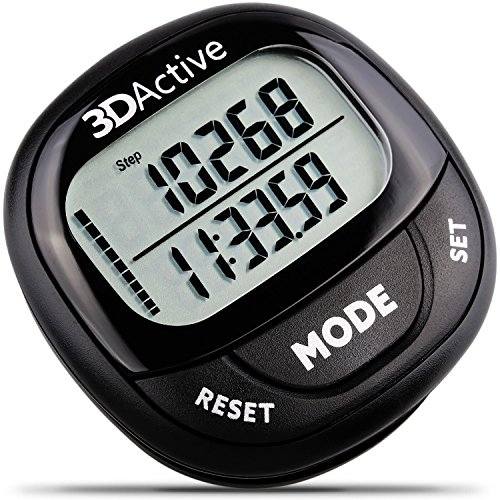 3DActive 3D Pedometer PDA-100| Best Pedometer for Walking with 30-Days Memory. Accurate Step Counter, Calorie Counter, Distance Miles/Km & Daily Target Monitor. Fitness Tracker for Men & Women (Black)