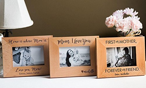 Qualtry Personalized Engraved Mom Picture Frame - Sentimental Mother's Day and Mother of The Bride Wedding Gift (Home is Where mom is Design)