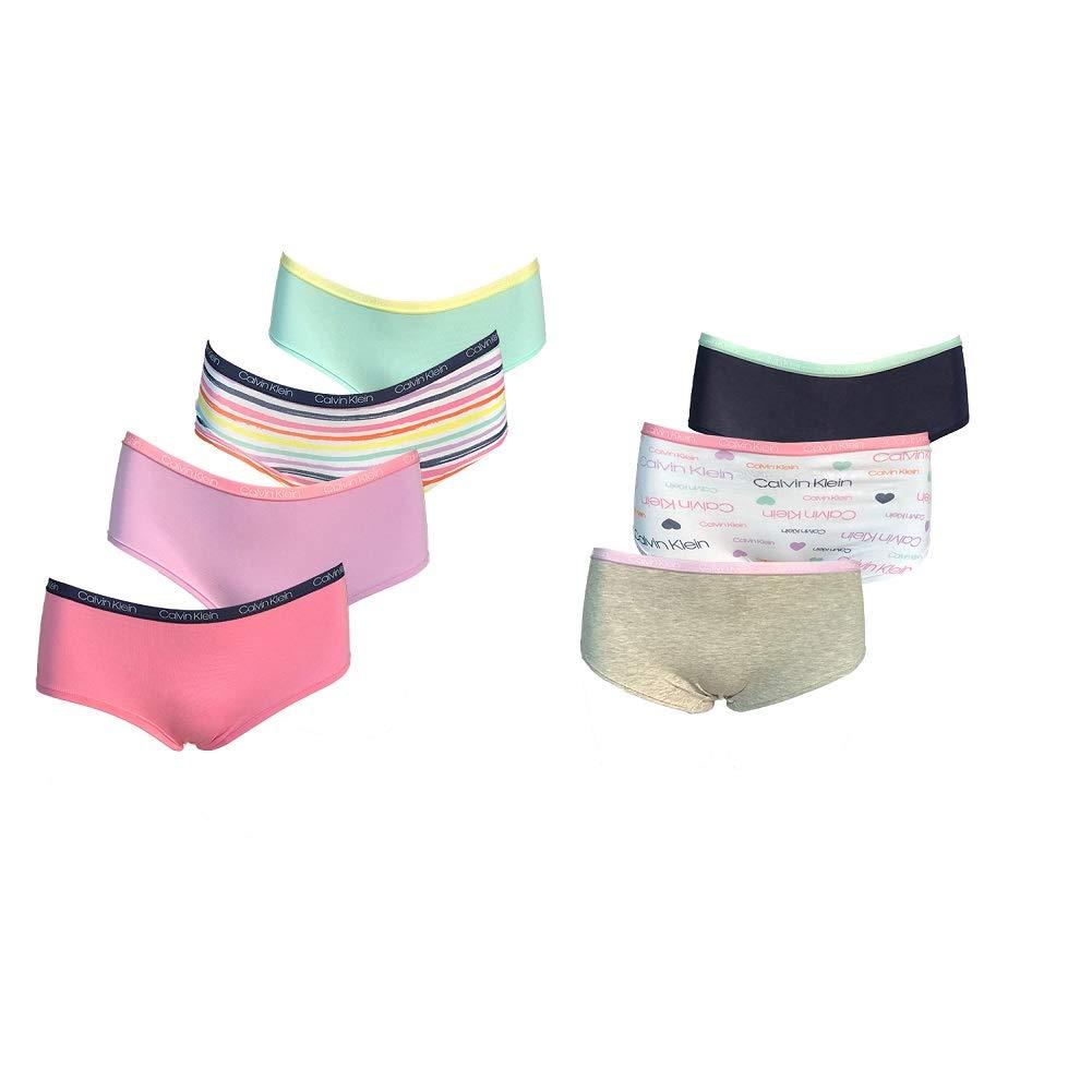 Calvin Klein Girls Hipster Panties Cotton Stretch Logo Waistband Tagless (7 Pack)