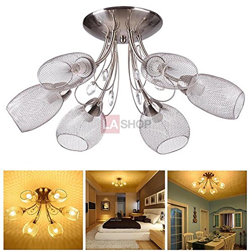 Brush Chrome Finished Retro 6 Light 60W 100-240V Nickel Body + Shade Crystal Chandelier Cover Mesh Celling Lamp Pendant Pendent Lighting Fixture for Home Décor Hotel Dining Room Cafe Shop Hallway (Light Brush Chandelier)