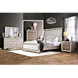 Loraine Bedroom Collection Luxury Antique Mirror Panel HB FB Bed Glam Style Eastern King Size Bed 4pc Set Dresser Mirror Nightstand Champagne Finish