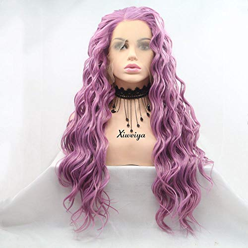 Xiweiya Long Curly Wigs Purple Hairstyle Mermaid Synthetic Lace Front Wigs For Women Graceful Full Wigs Halloween Party Wig Heat Resistant Cosplay Glueless Wigs High Density Natural Hairline