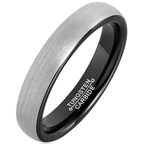 MNH+Tungsten+Carbide+Men+Ring+4mm+Black+Plated+Wedding+Band+Engagement+Comfort+Fit+Matte+Finish