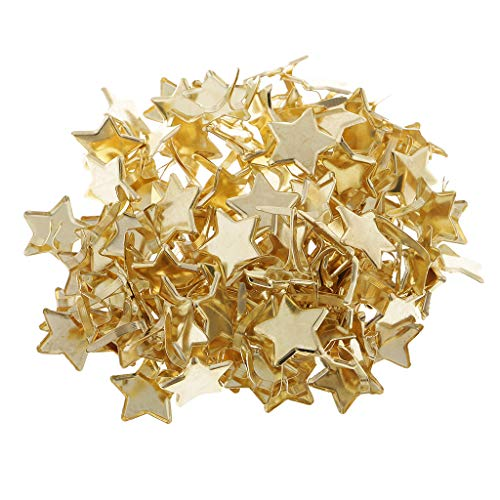 Prettyia 100 Pieces Star Head Metal Brads Paper Fasteners Scrapbooking Embellishment for Paper Decoration 14mm Gold