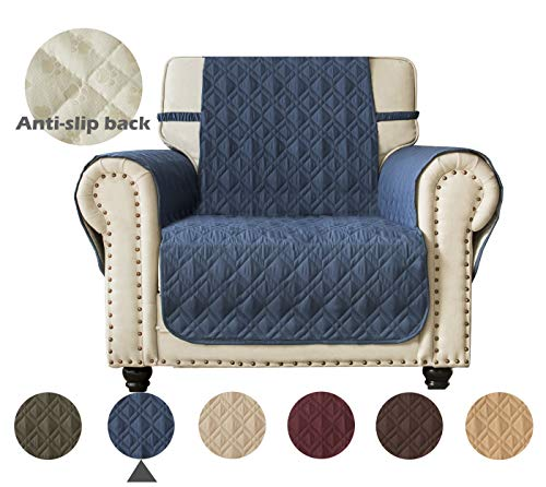 Ameritex Waterproof Nonslip Sofa Cover for Leather, Dog Couch Chair Cover Furniture Protector, Ideal Sofa Slipcovers for Pets and Kids, Stay in Place (Pattern1:Navy, Chair) (Furniture Leather Navy)