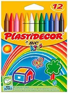 Plastidecor - Estuche con 12 ceras de colores: Amazon.es: Oficina y papelería