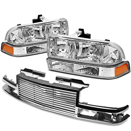 For Chevy S10/Blazer GMT 325/330 Headlight (Chrome Housing Amber Reflector)+Front Grille (Chrome) ()