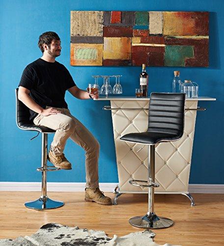 Adjustable Swivel Bar Stools Black Leather Kitchen Furniture